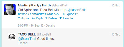 Taco Bell Answers ScentTrail on twitter image