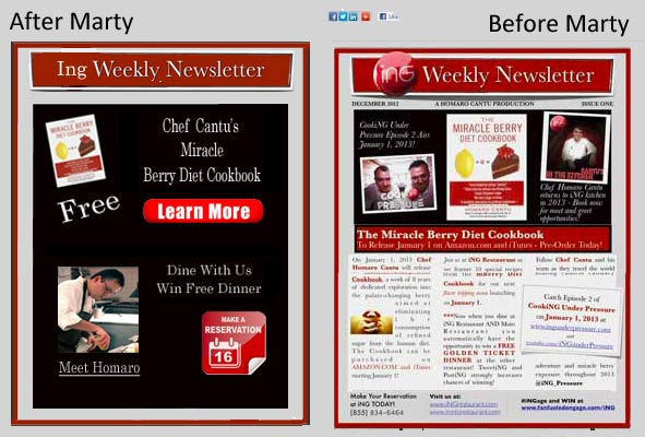 Homaro Cantu Newsletter on Atlantic BT Before and After Marty