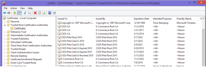 Root and Sub CA certificates correctly installed on a Wondows Machine