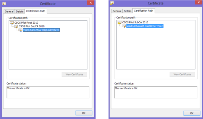 "The left screen shot shows Root and Sub CA certificates installed correctly. The ""certificate chain"" is complete and valid with the root certificate at the top. On the right hand side, the Root and Sub CA certificates are not installed correctly. The sub CA certificate cannot be found."