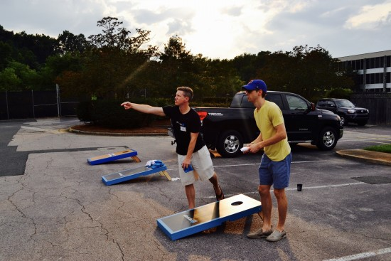 AtlanticBT employees playing corn hole 1