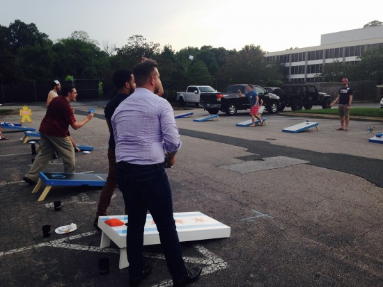 AtlanticBT employees playing corn hole 6