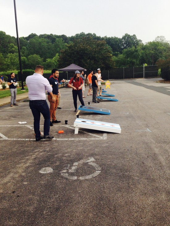 AtlanticBT employees playing corn hole 4