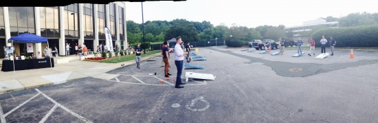 AtlanticBT employees playing corn hole 3