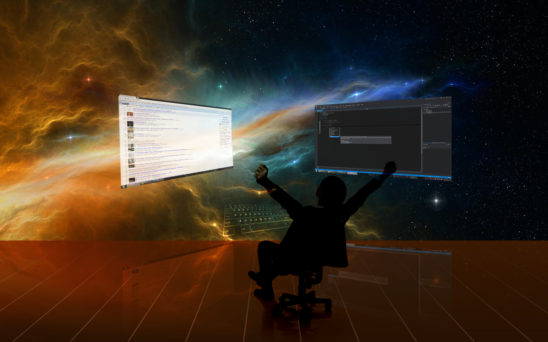 person in chair looking at computer screens and deep space background