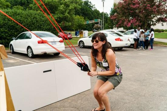 Jennifer Herndon launching a balloon