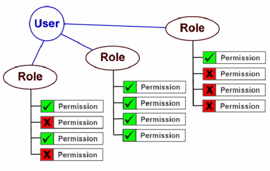 Chart of user roles and privileges
