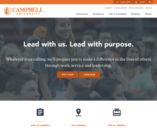homepage of campbell university