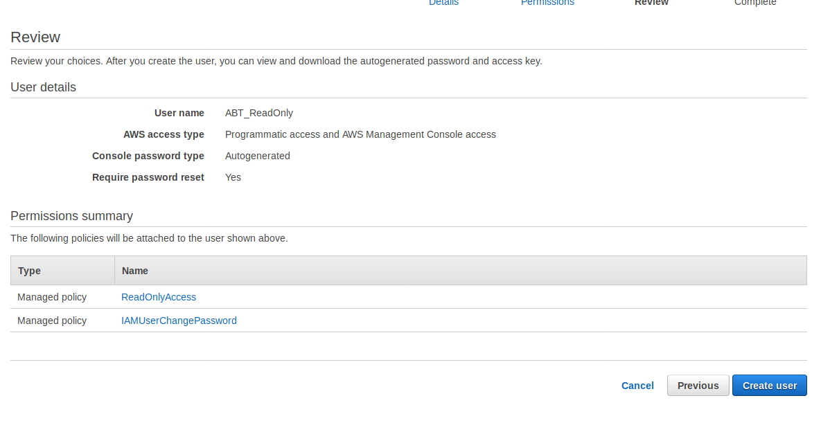 Final create user screen on AWS