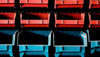 Red and blue colored bins