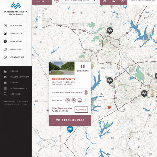 Martin Marietta Locations Map