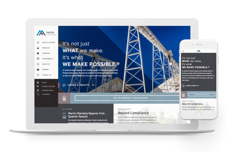 Martin Marietta website design by Atlantic BT