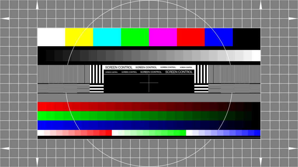 Full HD 1920x1080 test pattern. Resolution, contrast, colors, gradient.
