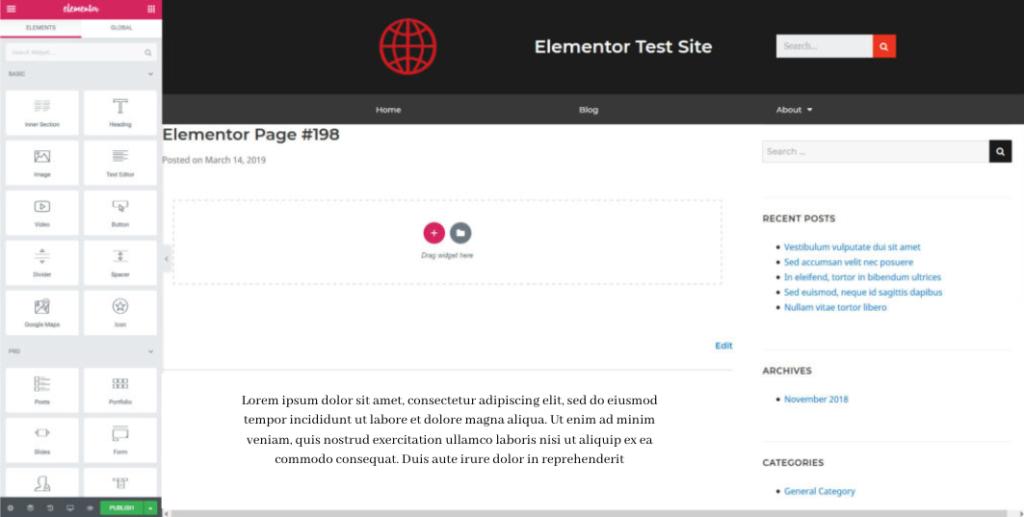 Elementor Page Builder admin