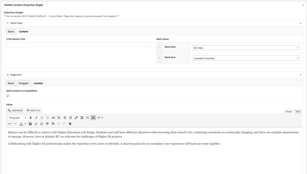 ACF WordPress admin